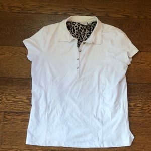 Chico's Zenergy Golf Polo White Crystal Buttons 1